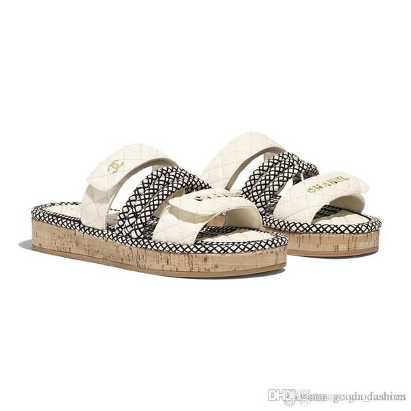 Latest Women Flat Cord Mules, Leather Slide Sandals Summer Beach Slippers with Straw Weaving Sole Hot sale in