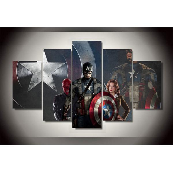 Captain America, 5 Stücke HD Leinwand Druck Neue Home Decoration Kunst Malerei / Ungerahmt / gerahmt