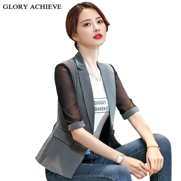 Blazer à manches longues en dentelle pour femmes Blazers à rayures manteau à boutons