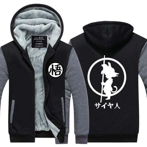 Winterjacke Herren Streetwear EU Größe Plus Fleece Zip Up Hoodie Son Goku Parka Freizeitmantel Cosplay Kostüm Sweatshirt