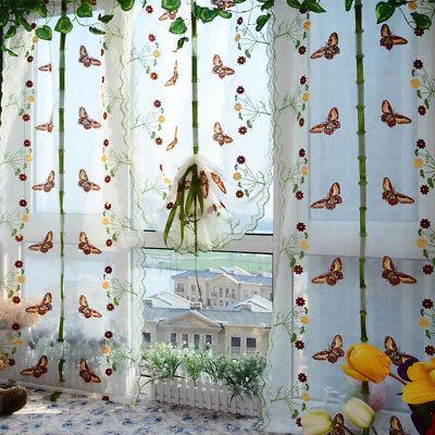 1 X farfalla Stampa Sheer Pannello di tenda della finestra balcone Tulle divisorio