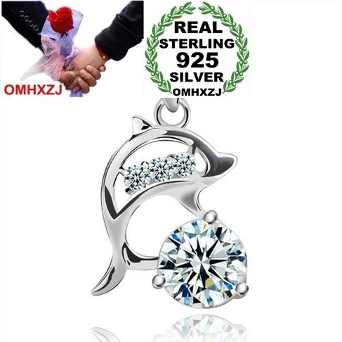 OMHXZJ Wholesale geometric dolphins love woman fashion kpop star 925 sterling silver pendant Charms PE53 ( NO Chain Necklace )
