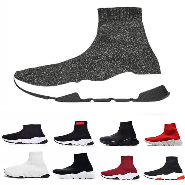 abalenciaga shoes Sapatos de meia de luxo Sapato Casual Speed Trainer Alta Qualidade Sneakers Speed Trainer Meia Corredores de Corrida preto Sapatos de homens e mulheres
