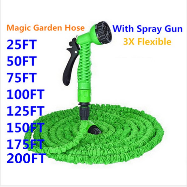 HOT SALE Expandable Magic Flexible Garden Hose To Watering With Spray Gun Garden Car Water Pipe Hoses Watering 25-150FT
