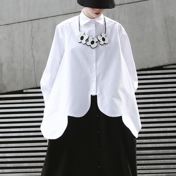 Белый Нерегулярные Рубашки Блузка Женщины Отворот Воротник С Длинным Рукавом Асимметричный Подол Топы Женские 2019 Уличная Мода