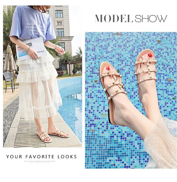 Fashion Luxury Designer Women Shoes Designer Sandals Rivet Brand Flat Slippers Sandal Girl Shoes Platform Slides Lady Flip Flops Studded Hot