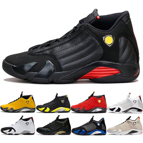 Discount 14 Candy Cane 14s Men Basketball Shoes The Last Shot Black Whit Red Yellow Mens Trainer Athletic Sport Sneaker Size 41-47