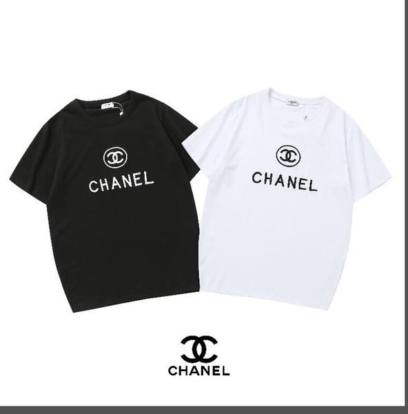 Primavera / verano 2019 lujo europeo París alta calidad logotipo gráfico letras camiseta bordada de moda hombres y mujeres de algodón informal T-shi