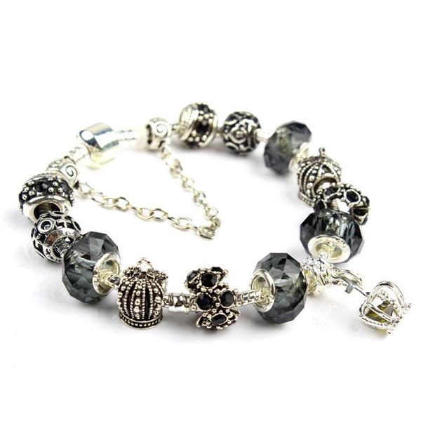 Charme Bracelet 925 Argent Pandora Bracelets Pour Les Femmes Royal Crown Bracelet Violet Perles De Cristal Diy Bijoux