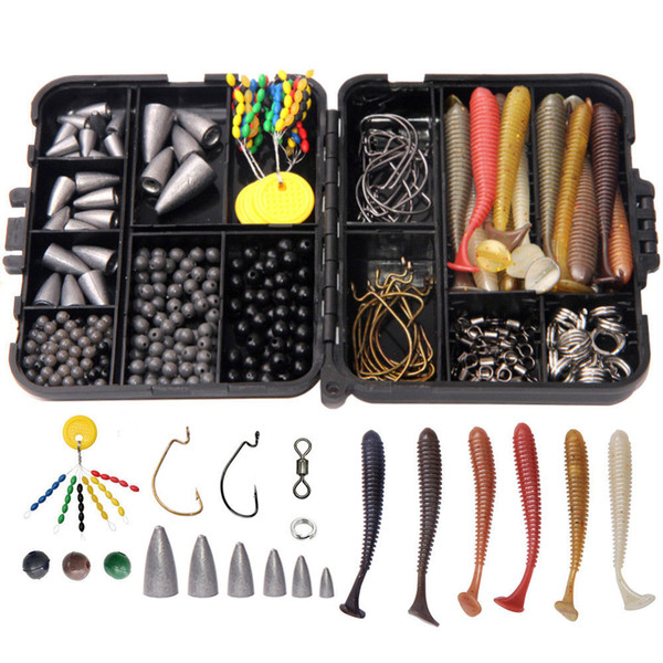 370Pcs/Box Fishing Accessories Kit Fishing High Quality Tackle Boxes Swivels Hooks Lures Sinkers Beads Terminal Tackle