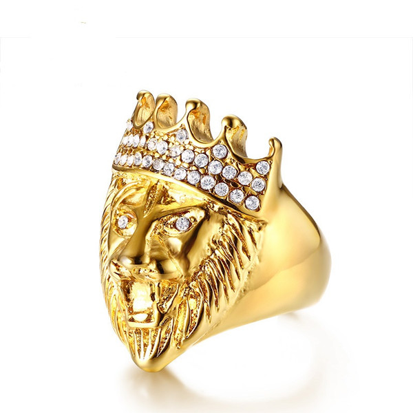 Gold Color Fashion Simple Men's Rings Stainless Steel Crystal Lion Ring Jewelry Gift for Boys Men J405