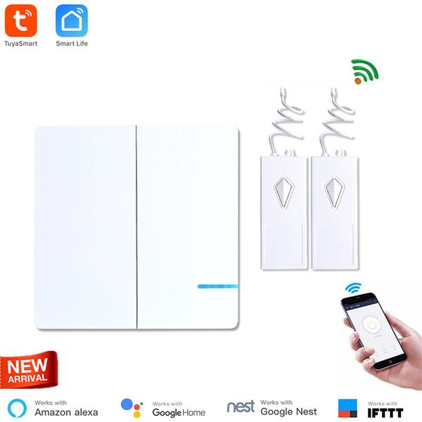 Wireless WiFi Light Switch 2 Way with 2 receiver Waterproof IP54 Remote Control Wireless Smart Switch Indoor 40M Tuya Smart App