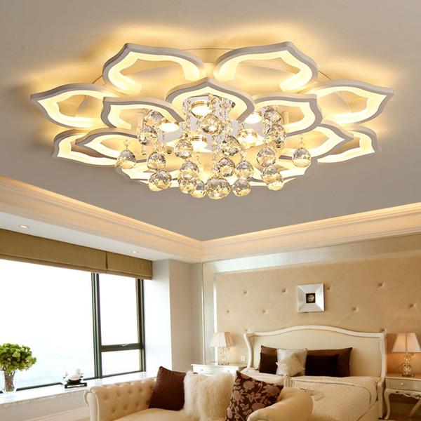 Lampe de plafond salon postmoderne conduit créatif pétale cristal hall plafond lampe de chambre lampe salle à manger lustre lampes