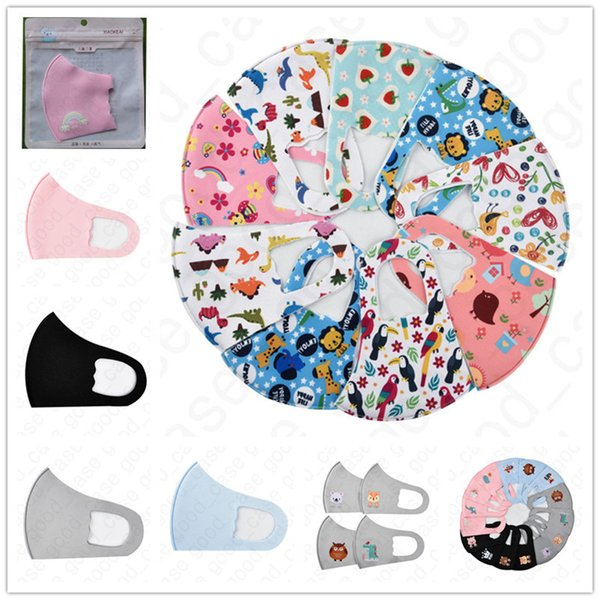 top popular 3D Three-dimensional Mouth-muffle Unisex Cotton Adult Mask Kids Cartoon Printed Ice Silk Sunscreen Dustproof Breathable Face Masks Hot D4710 2021