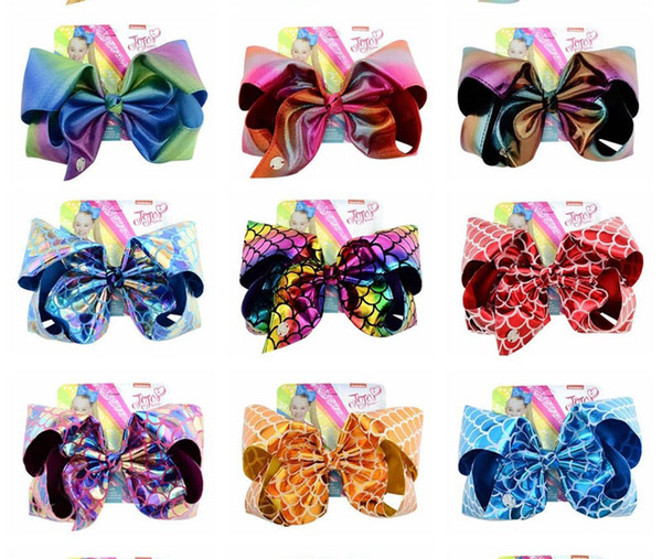 JOJO Big Bowknot Laser Hairpins Bows With Clip Bling Girl Barrette Colorful Bow Hair Clips Children Headwear Accessories kids Gift hot