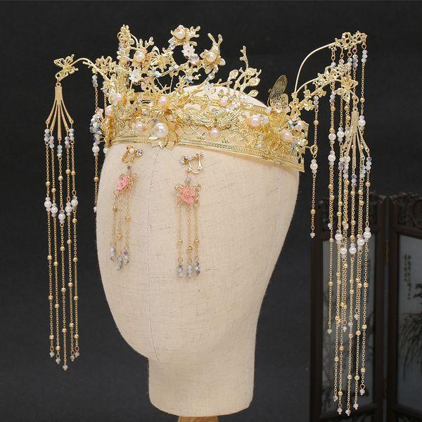 2019 New Bridal Xiu Headwear Atmospheric Luxury Coronet Fringe Wedding Costume Vintage Women's tiara