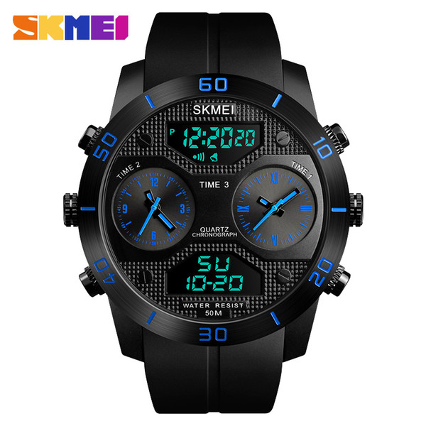 Outdoor Watches Men 50m Waterproof LED Electronic Quartz-Watch Vibrating Stainles Steel Dual Display Watch relogio