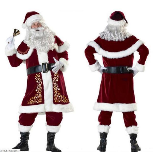 Делюкс Velvet Рождество Санта-Клауса костюм для взрослых Mens костюм перчатки + платок + шляпа + Tops + ремень + Foot крышка + перчатки Cosplay высокого качества