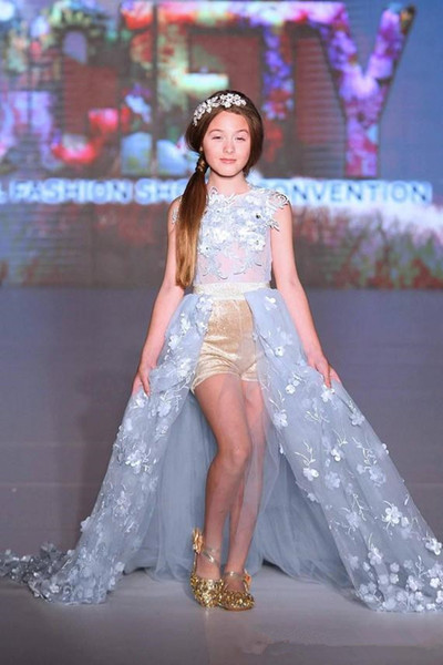 2020 céu Hot Sale Princesa azul Flor Meninas Vestidos para casamentos 3d Lace apliques Crianças Formal Wear Moda Pageant Outfit Tulle Vestido