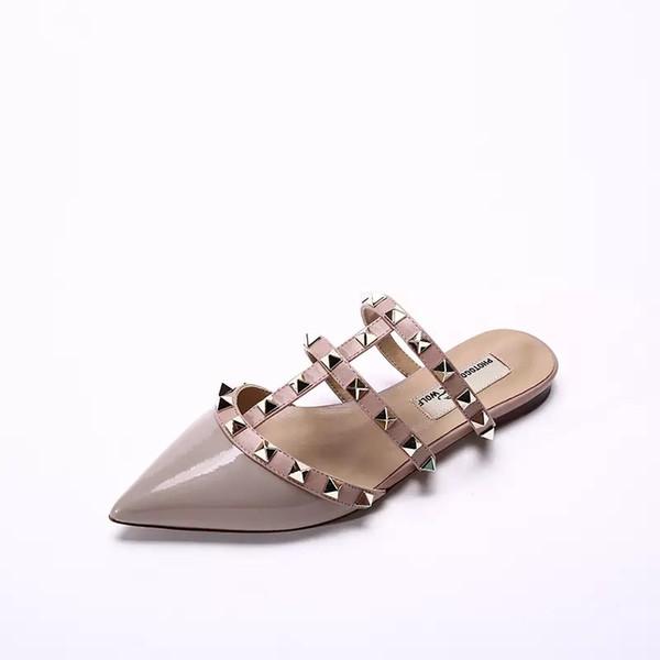 Kadınlar Deri Stud Sandalet T-kayış Sandal Yaz Yüksek Topuklar Perçin Ayakkabı Bayanlar Seksi Parti Ayakkabıları 6.5cm 9.5cm
