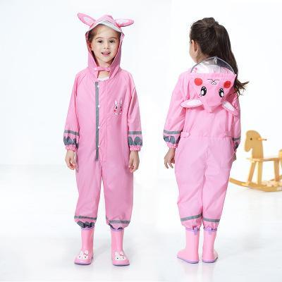 Animal Baby Jumpsuit Rain Coat Impermeabile poliestere impermeabile impermeabile bambini Poncho Safe Belt Cartoon Rainwear for Kindergarten Student
