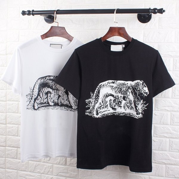 Fashion men's T-shirt European and American trend brand casual animal print pattern solid color couple short-sleeved round neck T-shirt