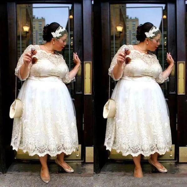 Discount Lace Plus Size Short Wedding Dresses 2019 Tea Length A Line Bridal  Gowns Illusion Long Sleeves Women Wedding Vestidos Custom Made Cheap A ...