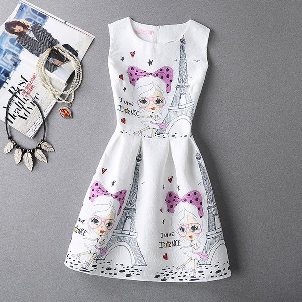 Spring/ summer vintage fashion dress sleeveless printed art slim dress European embroidery one piece girl puff #396908