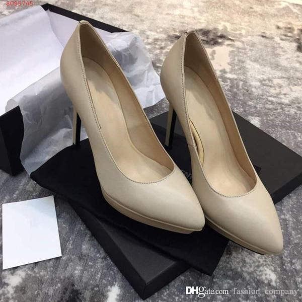 Nuevos zapatos de tacón de primavera y verano, cuero de vaca mate Fiestas casuales Zapatos de mujer, zapatos de vestir para bodas Zapatos de tacón de aguja