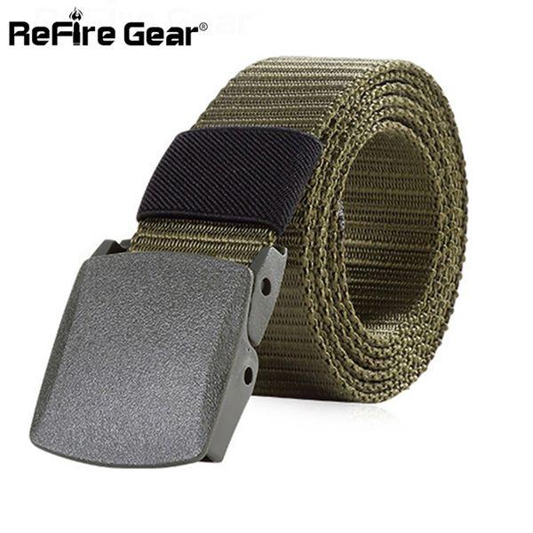 ReFire Gear Tactical Nylon Belt Men Army Combat Heavy Duty Adjustable Belt Male Casual Automatic Plastic Buckle Belts