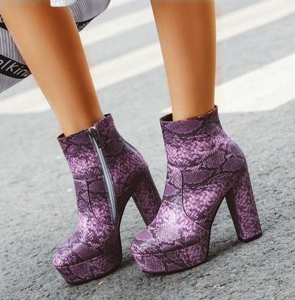 Plus la taille 32 33 à 42 43 44 45 46 Violet Serpent Grain épais Hauts talons femme cheville bottillons Designer Shoes Jaune Beige Bleu viennent avec la boîte