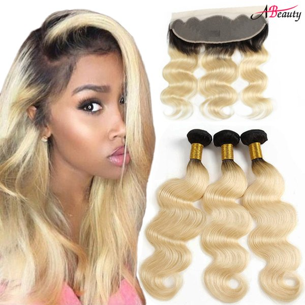 13X4 Ear To Ear 1B 613 Lace Frontal With Bundles Brazilian Body Wave Human Hair Ombre Blonde Hair Weaves