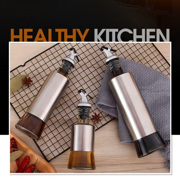 Zeytinyağı Ve Sirke Dispenseri Muhteşem Paslanmaz Çelik Yağ Kabı Şişe Seti Kolay Damla Ücretsiz Dökülen sızdırmaz Yağ Şişesi Garantisi