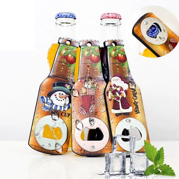 Yaratıcı Noel Bira Şişe Açacağı Moda Buzdolabı Çıkartma Noel Partisi Dekorasyon Ev Mutfak Aletleri TTA2144 Malzemeleri
