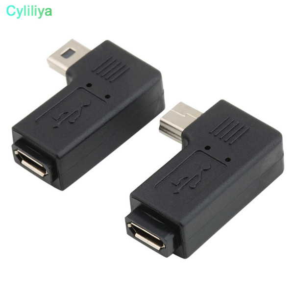 USB Micro 5Pin Female To Mini 5Pin Male 90 Degree Angle Left Adapter Converter 100pcs black color