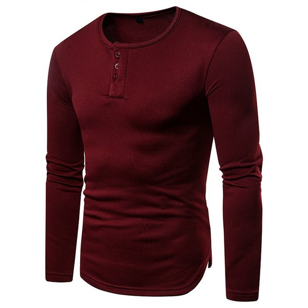 Herbst Herren Rundhalsausschnitt Tees Teenager Volltonfarbe Langarm T-Shirts Casual Slim Streetwear Fashion Tops