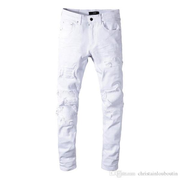 Klasik MIRI Toptan Beyaz pantolon 350 kot tasarımcı pantolon düz motorcu sıska mazgal kot erkekler kadınlar yırtık kot