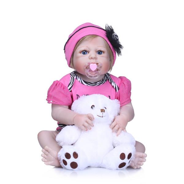 Bebe Reborn Full Body Vinyl Silicone Reborn Baby Doll Toy 22inch Newborn Girl Princess Toddler Bebe Doll Child Bathe Toy Gift