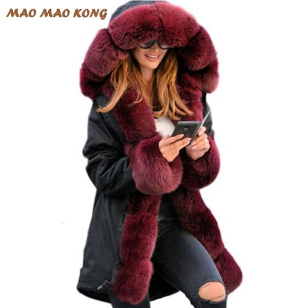 2019New Fashion Women winter Real Fox fur coat Natural Rabbit Liner jacket Parka female warm Military Genuine Fur coat Top brand Y190906