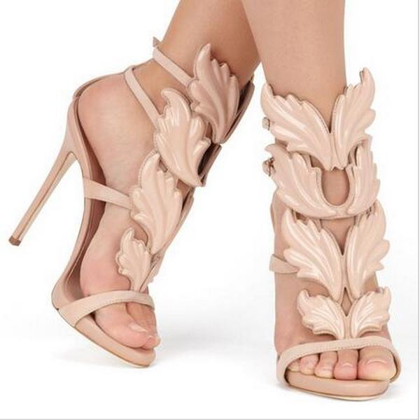 Design Wings Women Sandals Silver Nude Pink Gold Leaf Strappy High Heels Gladiator Sandals Women Pumps Shoes Ankle Strap Dress Shoes 5sgd