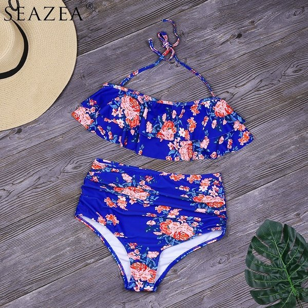 Seazea Halter Top Swimwear Sólida Ruffle Swimsuit Mulheres Sexy Impressão Floral Bikinis Nova Cintura Alta Beach Wear Feminino Biquini