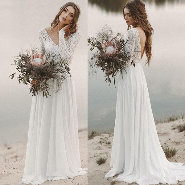 Beach country wedding dre e 2020 a line chiffon lace v neck v back with long leeve draped backle bridal gown illu ion weep train, White
