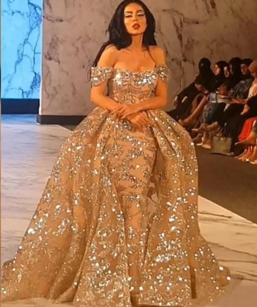amscan / Bling ouro Applqiues Lace Vestidos 2019 Off-ombro vestidos de baile com overskirts Dubai Árabe formais Dreses Evening Partido Vestidos