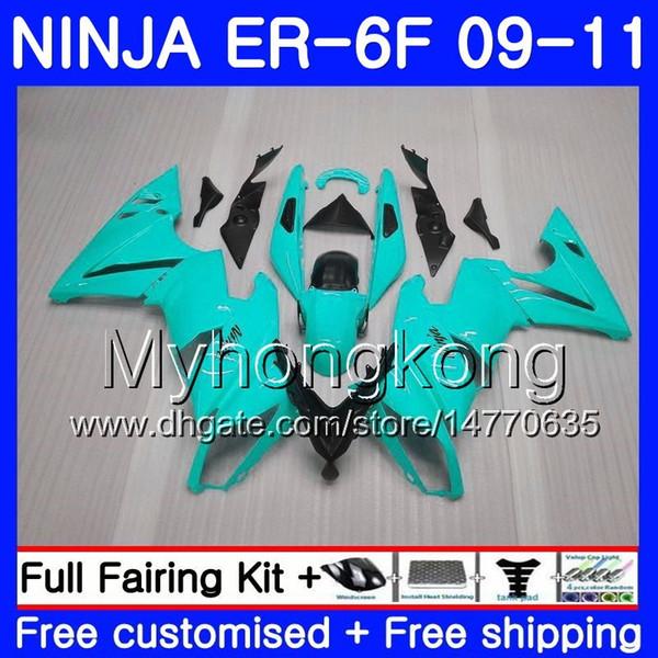 Body For KAWASAKI NINJA 650R ER 6F ER-6F 2009 2010 2011 252HM.43 Light blue black Ninja650R ER6 F ninja650 ER6F 09 10 11 Fairing Kit+7Gifts