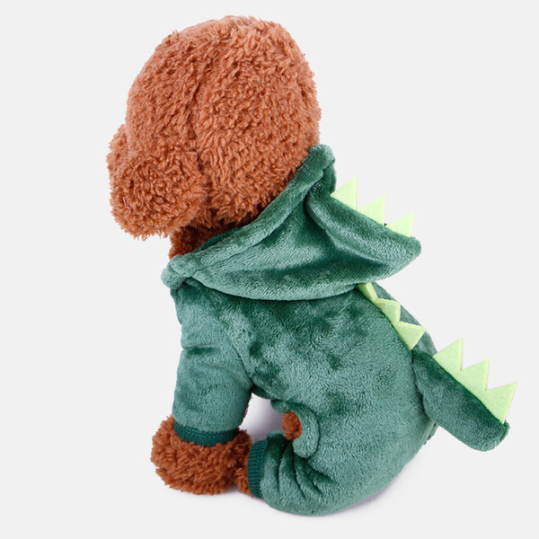 pet clothing, teddy autumn and winter coral fleecy costume, cartoon dinosaur costumes for dogs, very cute