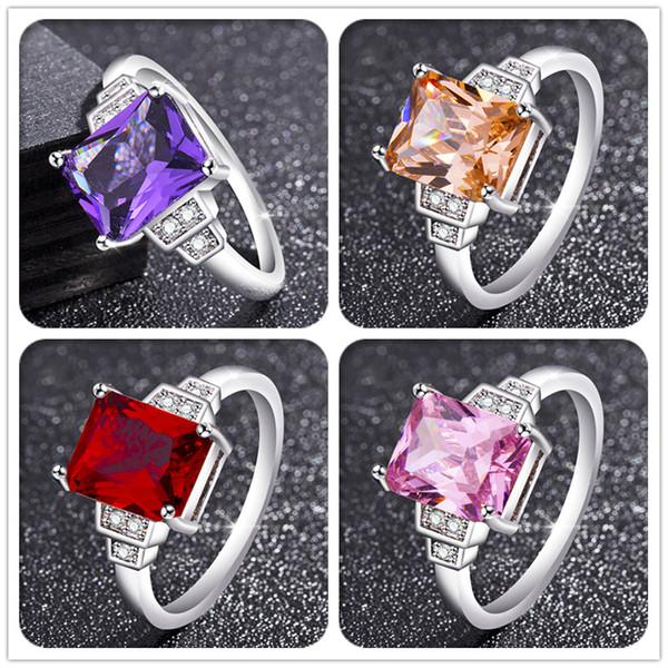 Sterling Silber 925 klassische Original-Mode einfaches Design cool Multi-Color-Set Zirkon Damen Ring Schmuck Weihnachtsgeschenk