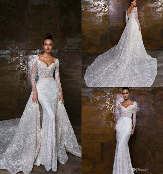 Crystal Design 2019 Mermaid Wedding Dresses With Detachable Train V Neck Lace Appliques Pearls Long Sleeve Wedding Dress Sequins Bridal Gown