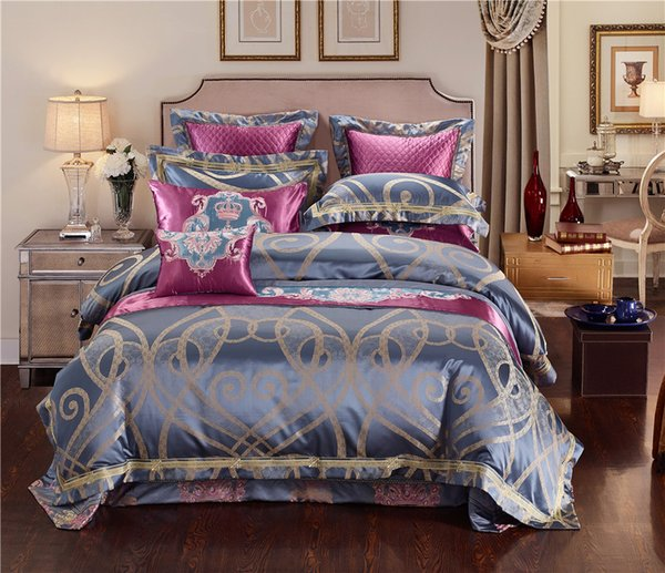 Blue Golden Luxury Silk Jacquard Royal Bedding sets Queen King size Duvet cover Egyptian Cotton Embroidered Flat Bed sheet 36