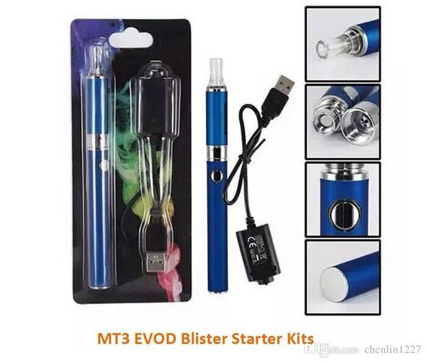 MT3 EVOD Blister Kit 650 900 1100mah EVOD Batería MT3 Atomizador E Cig starter kit vaporizador vape pluma Kits de inicio de cigarrillo electrónico