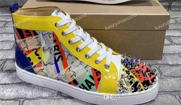New Designer Sneakers Red Bottom Shoe High Top Cut Leather Spike Luxury Graffiti Shoes For Men And Women Shoes Party Wedding Sneakers